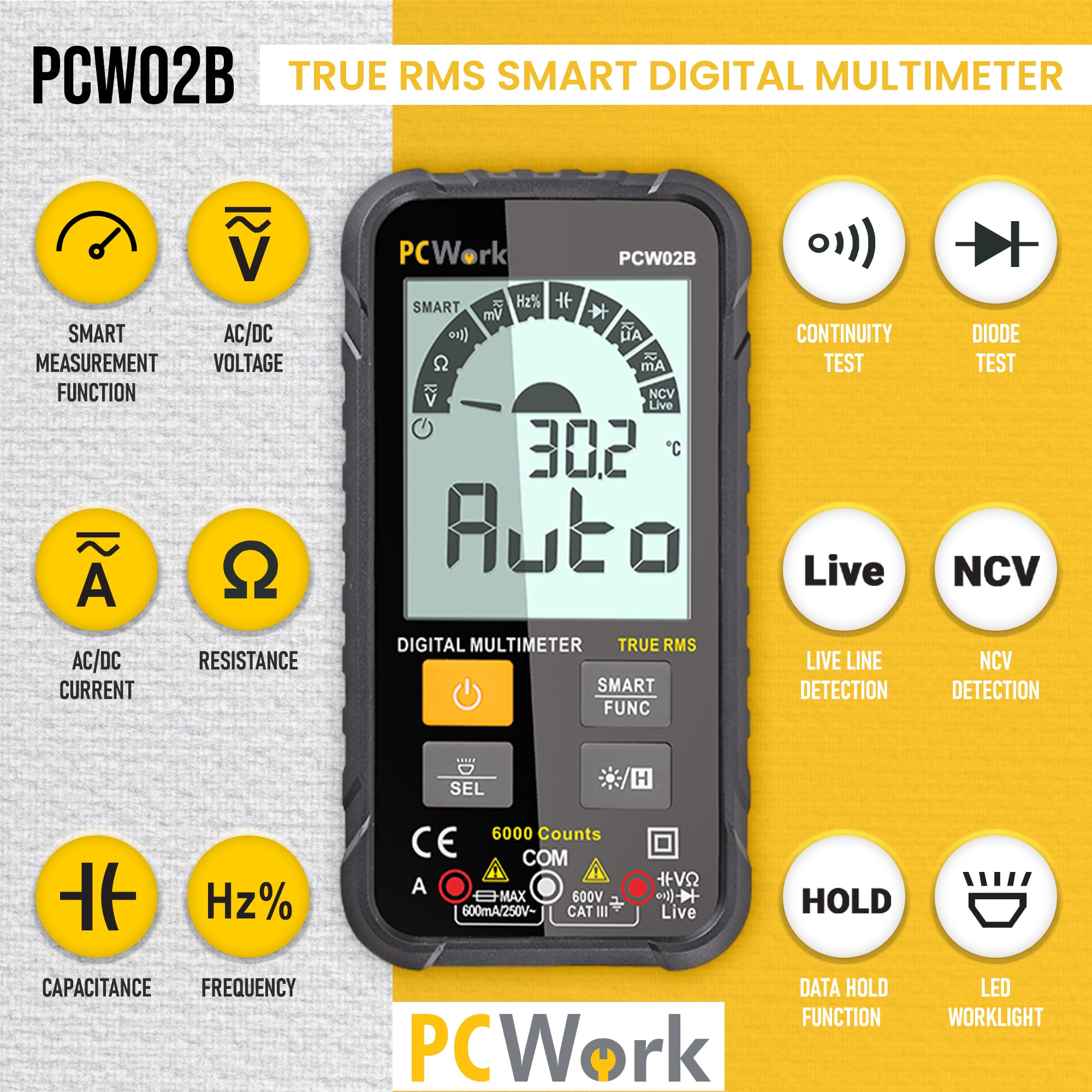 pcw02b smart digital pocket multimeter features and functions pcwork
