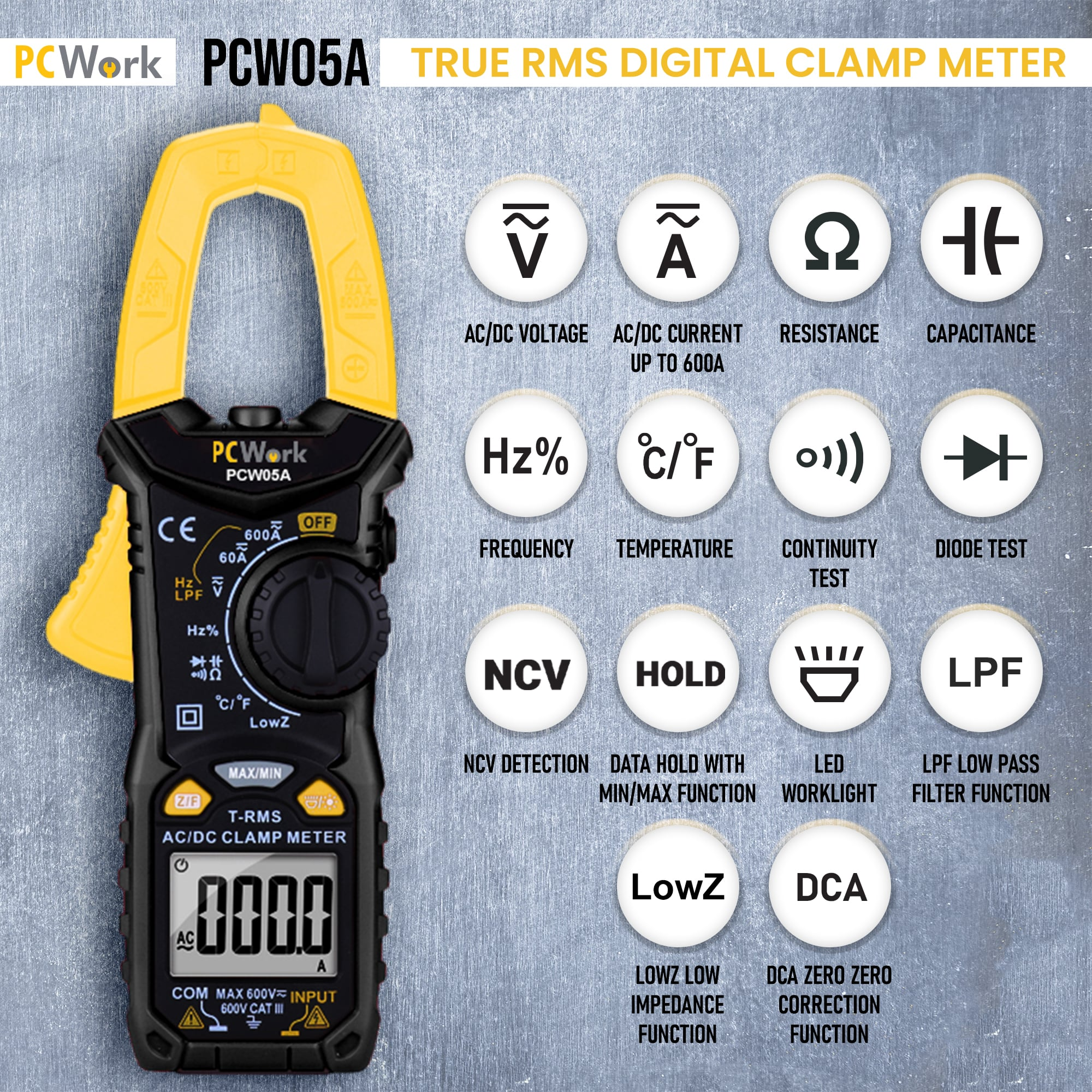 pcw05a digital clamp meter features and functions