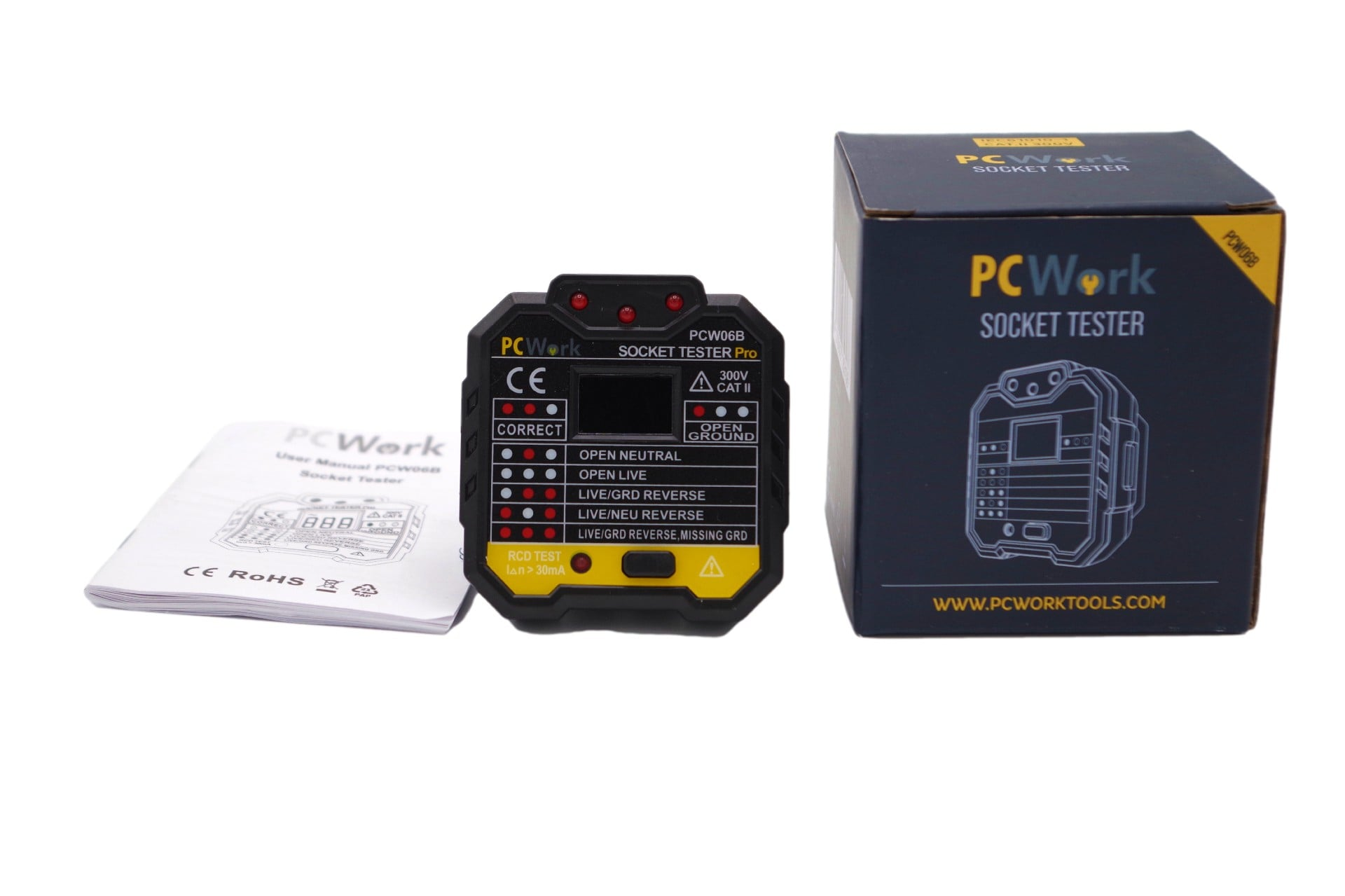 pcw06b socket tester packaging and manual